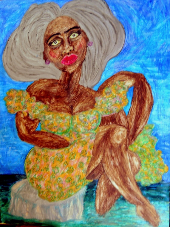 """ANUKET - Oil Pastel Painting Portrait of Woman of Color on 24 x 18"""" Mix Media Paper, by Outsider Folk Artist Stacey Torres"""