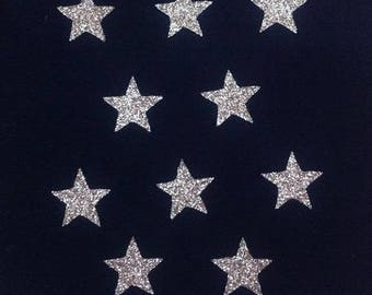 10 stars hot-melt 15x15mm glittery gold