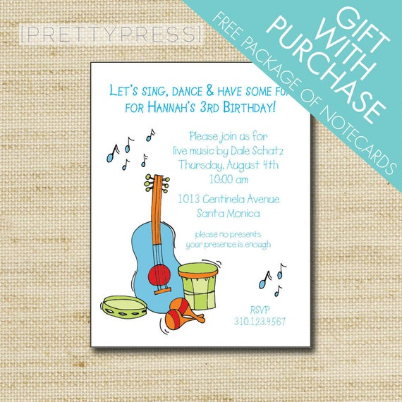 Music birthday invitation kids music themed party filmwisefo Images