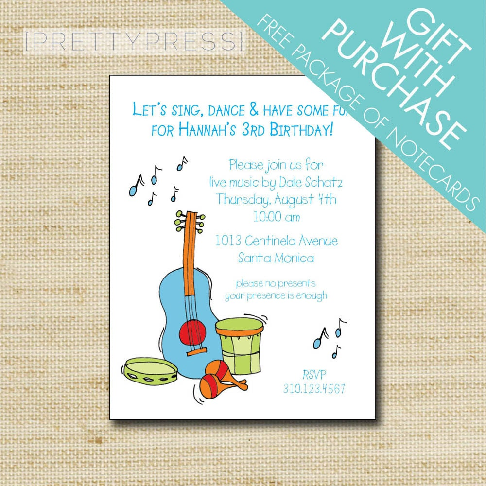 Music Birthday Invitation Kids Music Themed Party