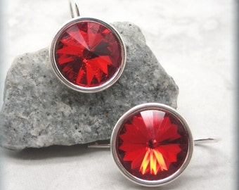 Ruby Rivoli Earrings, July Birthstone Earrings, Swarovski Crystal Earrings, Sterling Silver, Bridesmaid Gift, Birthday Gift for Her