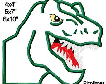 T REX Dinosaur Head Machine Embroidery Applique Pattern 4x4 5x7 6x10 INSTANT DOWNLOAD