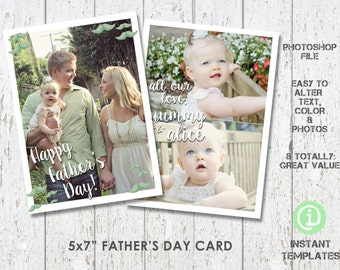 """Father's Day Card Template 5""""x 7"""" Photoshop Template - C1F001"""
