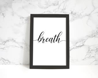 Breath Cursive Script Printable A4 Artwork
