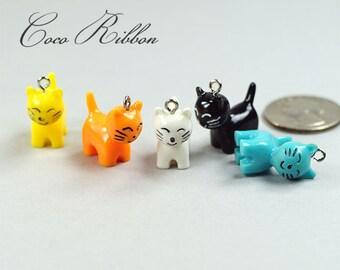 10pc 22mm Mixed Cute 3D Cat Kitten Pet Resin Charm Pendant C40