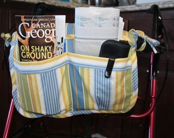 Caddy for Walker, Walker Organizer, Walker Bag, Walker Tote, Nursing Home Gift, Assisted Living Gift, Mobility Accessory, Wheelchair Tote