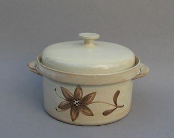 Eiderbloom Casserole Ceracron Melitta Germany Modern Creamy Beige Stoneware 1970s Vintage German Ceramic Bakeware