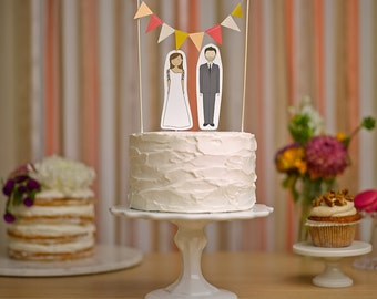 Wedding Cake Topper Set - Custom Cake Bunting / Bride and/or Groom Cake Toppers
