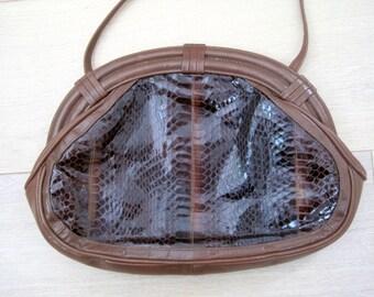 Vintage 1970s Snakeskin Leather Purse Satchel - Brown and Black By Aspects Genuine Snakeskin - Retro Shoulder Bag
