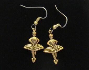 Ballet Dancer Earrings 24 Karat Gold Plate Ballerina Dancers Dancing Ballerinas Dance EG561