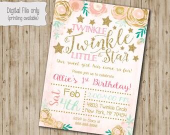 Twinkle Twinkle Little Star Birthday Invitation, Watercolor Flower, Twinkle Twinkle Birthday Invite, Gold Glitter, Twinkles, Girl Twinkle
