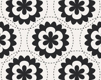 Black and White Flower by AGF, Art Gallery Cotton Fabric by the Yard, Fractal Garland Black