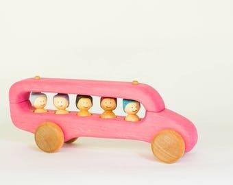 Pink wooden schoolbus, wooden school bus, wooden car by l'Atelier Cheval de bois