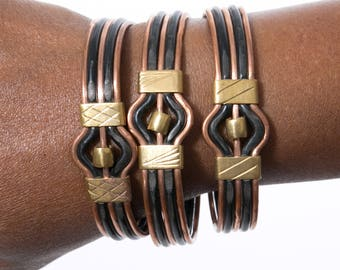 African Made Bracelet - Copper with Black