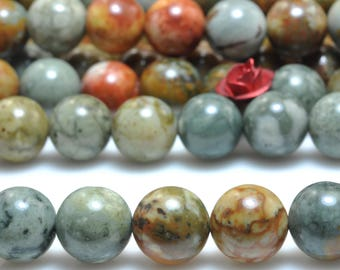 47 pcs of Natural USA Rocky Butte Jasper smooth round beads in 8mm (07175#)