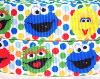 """Sesame Street  1"""" Grosgrain Ribbon - 3 yards Sesame Street Ribbon - Sesame Street Ribbon - Elmo and Friends Grosgrain Ribbon"""