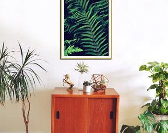 Botanical Poster, Fern Print, Leaf, Nature Art, Oversized, Green Wall Decor, Office, Woodland Art, Home Decor, Botanical Art