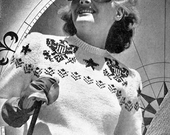 1940s Patriotic Stars & Eagles Ski Sweater-  PDF Knitting Pattern Instant Download