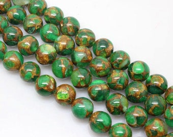 15.5Inch 3 Full Strands Green Mosaic Quartz Round Bead, 6mm 8mm 10mm 12mm Size