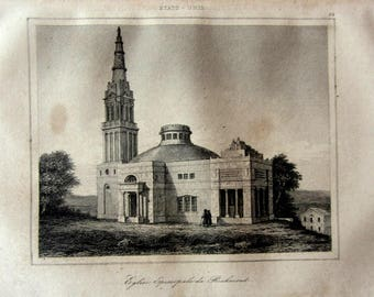 Print of Episcopal Church of Richmond USA in the 18th century. United States print engraving, architecture building travels around the world