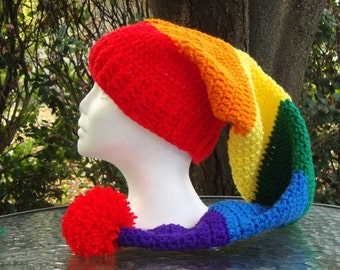 Long Stocking Elf Crochet Hat Roy G Biv Rainbow Adult