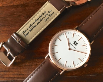 Personalized Men's Watch - Rose Gold - Classic Style, Gifts for Him, Boyfriend Gift, Groom Gift, Wedding Gift for Him