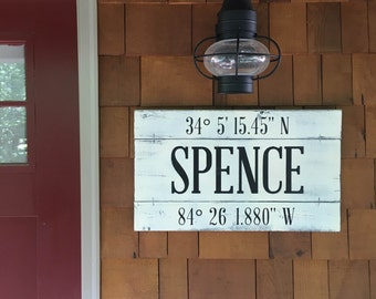 """FAMILY NAME SIGN, 24"""" x 14"""", wood sign latitude longitude, Gps Coordinates gift, last name sign, Longitude Latitude Wedding Gift"""