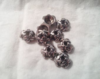 Set of 10 antique silver - 1 114 caps
