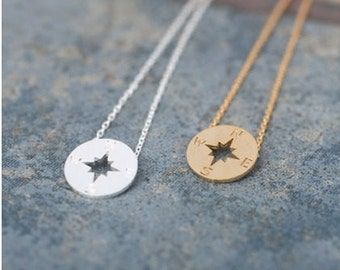 Gold or Silver Compass Necklace, compass necklace, small compass necklace, compass jewelry, nautical necklace