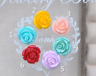 Rose Flower Drilled beads 12mm, You Choose Color -(SF29)/ 20pcs