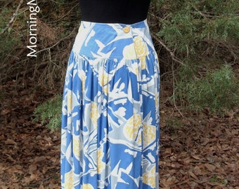 VINTAGE MIDI SKIRT, blue yellow white, Hippie Festival wear, Boho chic, abstract flowers, soft rayon, full & twirly, Organically Grown, Med