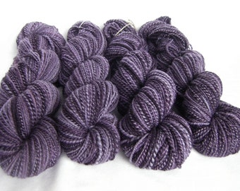 Handspun Louet Bluefaced Leicester / Barberpole BFL - Worsted Weight Wool - Wild Violets