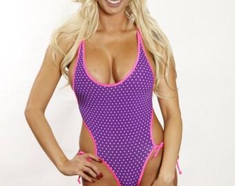 Bitsy's Bikinis Purple/White Mini Polka Dots Monokini Scrunch Butt Micro Bikini One Piece Cheeky Bottom/Back Swimsuit Swimwear w Pink String