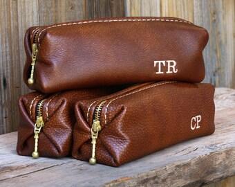 Dopp Kit Bag Groomsmen Gift Leather Toiletry Bag with Monogram Mens Toiletry Bag Leather Custom Dopp Kit Lifetime Leather Co