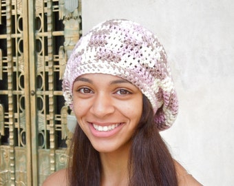 Slouchy Hat, Crochet, Women, Teen, Pink, Tam, Neopolitan Ombre, White, Ready To Ship,,