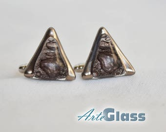 Cufflinks handmade bubble painted brown decorated with platinum, triangle
