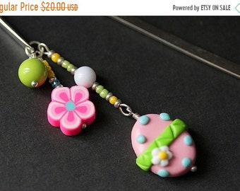 MOTHERS DAY SALE Pink Easter Egg Bookmark. Polymer Clay Beaded Bookmark. Easter Bookmark. Book Hook Book Charm. Handmade Bookmark.
