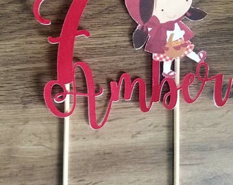 Little red riding hood birthday cake topper with name and age.