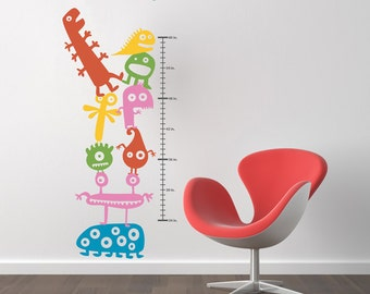Children's Growth Chart with Little Monsters Wall Decal - WAL-2124