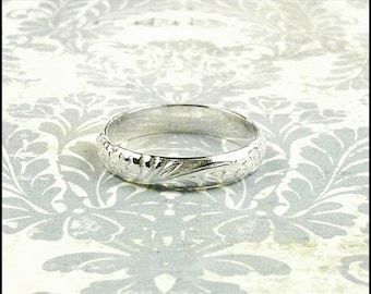 Sterling Silver Ring, Patterned Ring, Wedding Band Ring, Purity Ring, Any Size Ring, Sterling Silver Band, Engraved Custom Made Ring