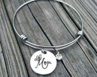 Butterfly Kisses Mom Bracelet Butterfly Bracelet Mother's Day Gift Bracelet Hand Stamped Mom Gift Minimalist Bracelet Gift for her Wife Gift
