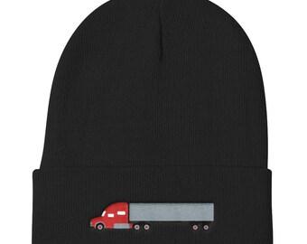 Trucker Hat Diesel Big Rig Semi-Truck Embroidered Knit Beanie