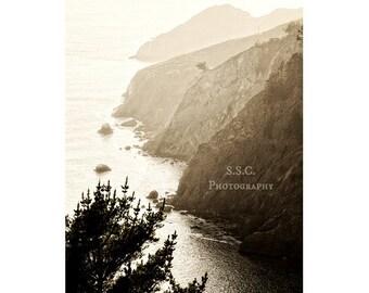 Marin Headlands photo. Cliffs. bay. ocean. northern california coastline.  gray. landscape wall art. mountains.