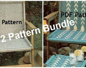 Macramé Chair with Footstool, 2 Pattern Bundle Vintage Hippie 1980's, Macrame Love, Booklet, Leaflet, Ebook, PDF Instant, Digital Download