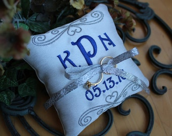Monogrammed Wedding Ring pillow, Personalized wedding ring pillow, square, Custom, embroidered ring bearer pillow, 4x4 7x7 F21
