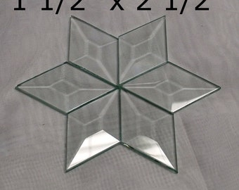 Box of 30 of 1-1/2 x 2-1/2 DIAMOND Bevels - Clear Memory Glass - Bevels Flat On Back - for Collage Altered Art Soldered Pieces