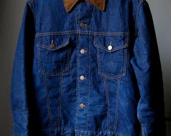 Vintage Sears Roebucks Lined Selvedge Denim Trucker Jean Jacket Coat Size 42