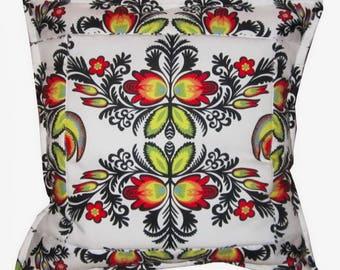 Polish folk art,Łowicz cushion cover,Folk art,Pillow,  Patchwork pillow, Polish-Łowicz region folk art inspired cushion cover,