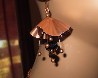 Boho Hand Forged Metalwork Copper Earrings With Dangling Colorful Faceted Glass Beads