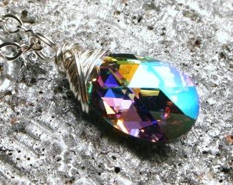 Rainbow Teardrop Crystal Necklace Rare Fat Swarovski Cal AB Metallic Drop Fancy Sterling Silver Chain Handmade Sparkle Infinity Heirloom